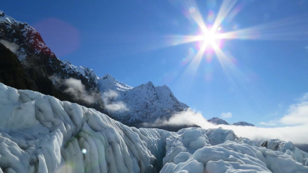 heli-hiking on the Franz Josef Glacier on a beautiful sunny day