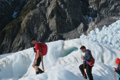 Franz Josef Glacier heli-hiking with guide Tim leading the way