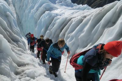 heli-hiking on the Franz Josef Glacier walking on glacier